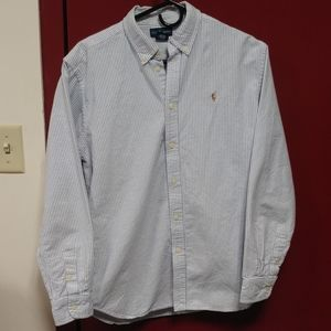 Light Blue and White Striped Ralph Lauren Oxford
